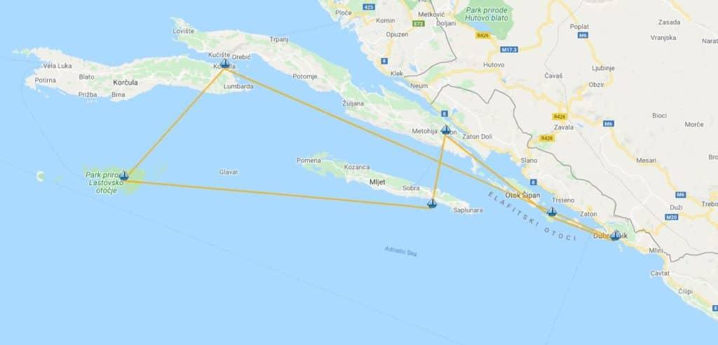Ruta viaje en velero por Croacia
