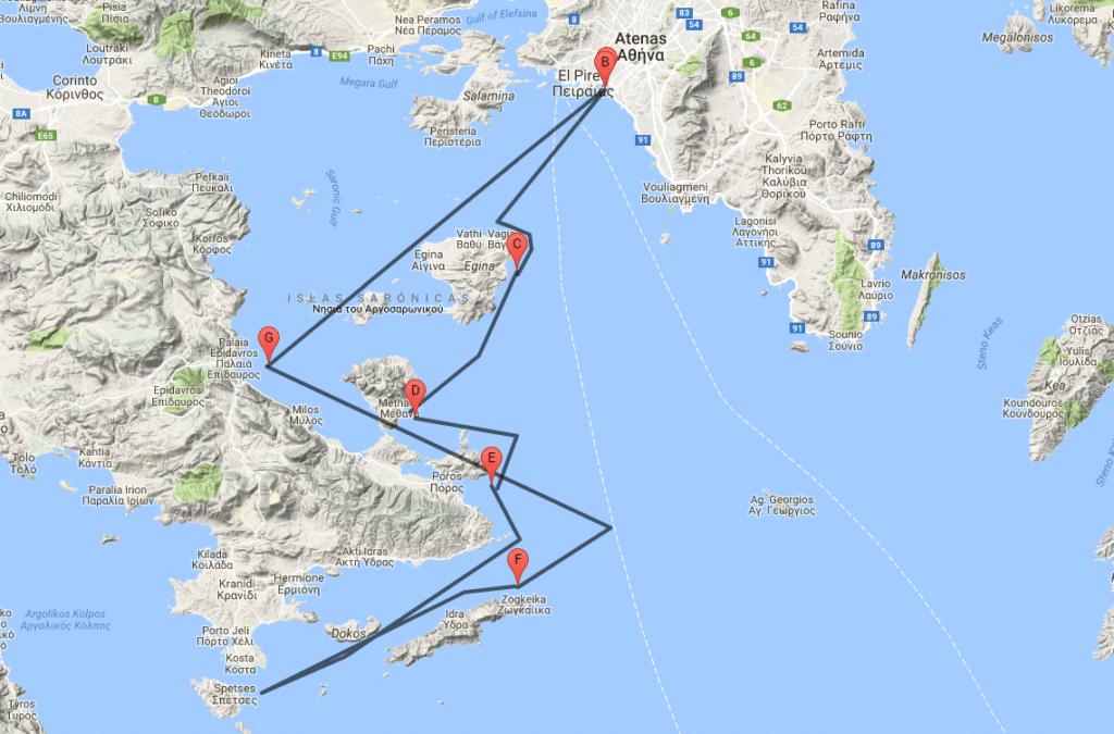 Ruta viaje en velero por Grecia